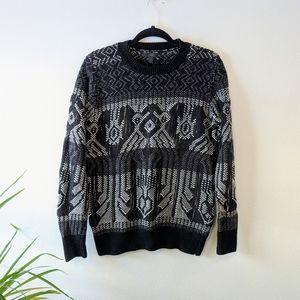J Crew M black and white knit sweater
